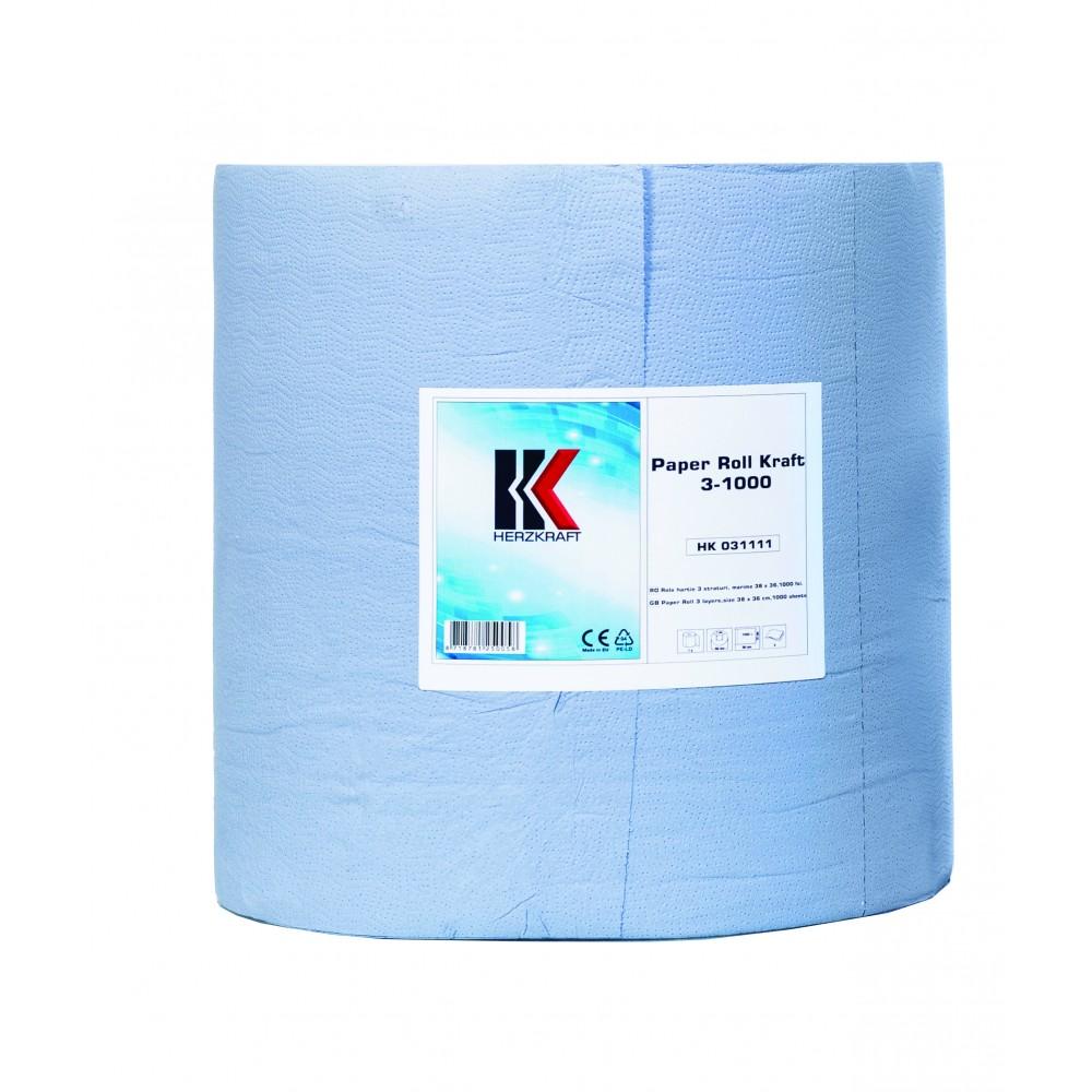 Rola de hartie industriala Herzkraft Kraft albastra 1000 foi 3 straturi
