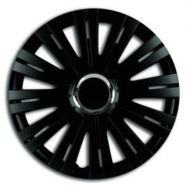 Capace pentru roti de 14 inch Mega Drive negre cu inel cromat Active set 4 bucati