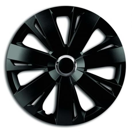 Capace pentru roti de 14 inch Mega Drive negru cu inel cromat Energy set 4 bucati