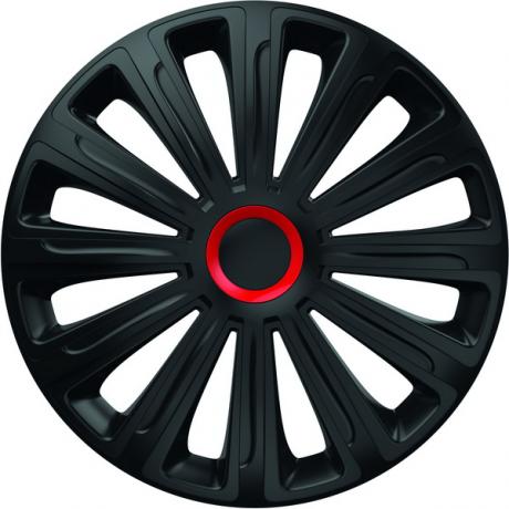 Set 4 capace roti de 14 inch Mega Drive negre cu inel rosu Trend