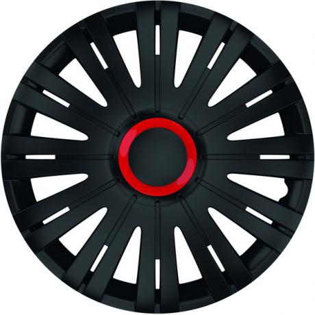 Capace pentru roti de 14 inch Mega Drive negre cu inel rosu Active set 4 bucati