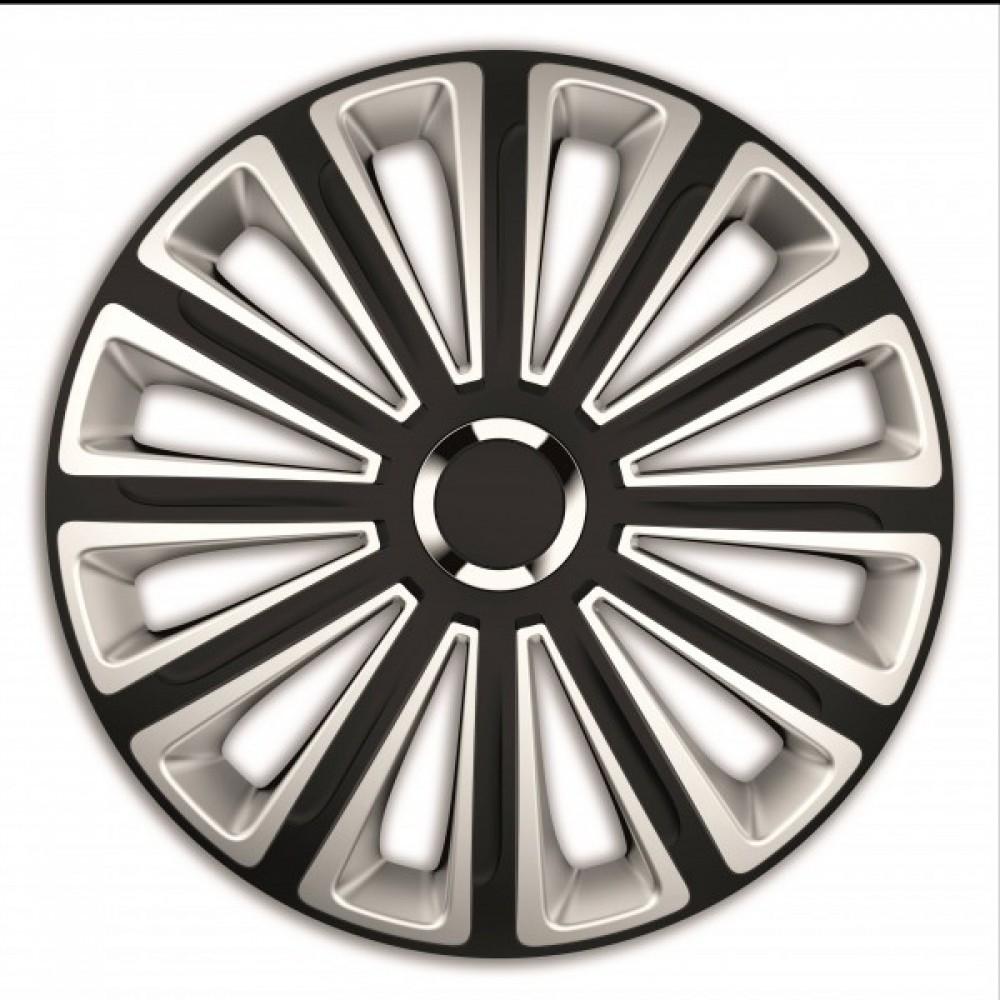 Set 4 capace roti de 16 inch Mega Drive Silver & Black cu inel cromat Trend