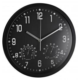 Ceas rotund de perete, D-35cm, cifre arabe, termometru/hidrometru, ALCO - rama alba