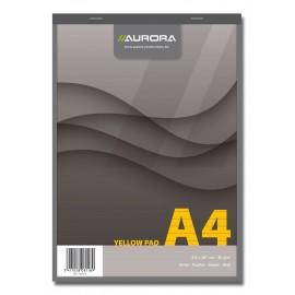 Blocnotes capsat, 80 file - 80g/mp, 4 perforatii, AURORA Office - hartie galbena