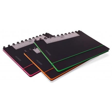 Caiet A4, 72 file - 90g/mp, coperta PP neagra, cu elastic, margine color, AURORA Adoc Edge