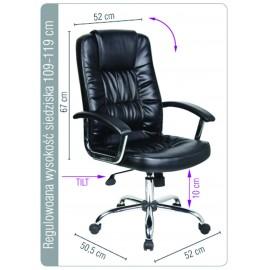 Scaun de birou, brate metalice, rotile, piele ecologica eleganta, Office Products Cyprus