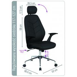 Scaun de birou, brate plastic, rotile, piele ecologica eleganta, Office Products Tenerife - negru