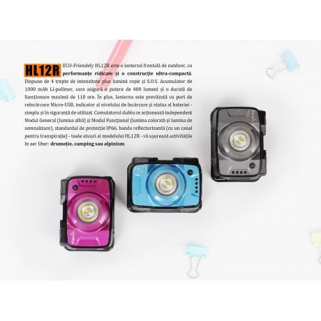 Lanterna Fenix HL12R - Lanternă Frontală Reîncărcabilă - 400 Lumeni - 64 Metri