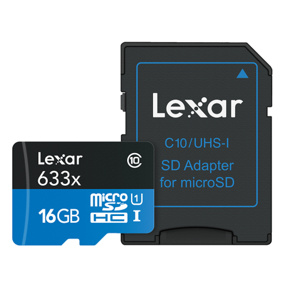Card memorie foto Lexar 16GB mSDHC HP CLS10 UHS-I 95MB/s + adaptor SD