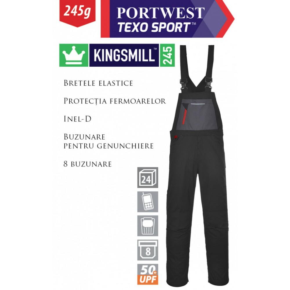 Pantaloni de lucru cu pieptar PORTWEST Rhine TX62