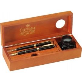Cutie din lemn pentru instrumente de scris, calimara inclusa, DIPLOMAT